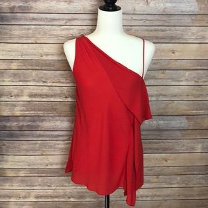 Trouve Red Ruffle Top